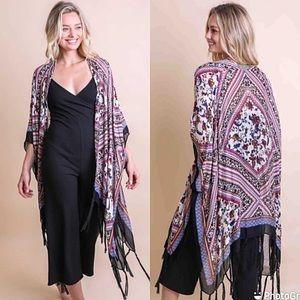 Bohemian Fringe Kimono Wrap Coverup With Armholes
